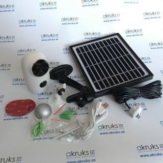 Bezdrôtová nabíjateľná CCTV Wifi IP kamera, odolná proti vonkajším poveternostným vplyvom IP65 s PIR a detekciou pohybu.