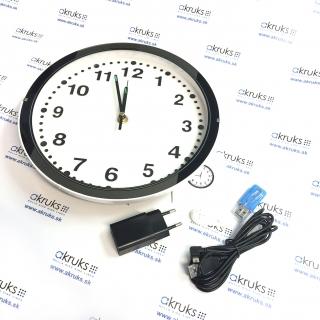 Nástenné hodiny so skrytou WiFi Full HD kamerou AKR-IP200